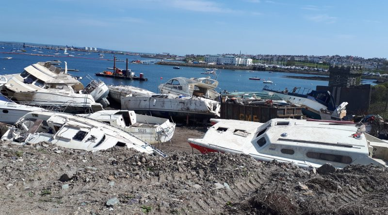 A picture showing the boats that were destroyed in Holyhead Marina by the beast from the east