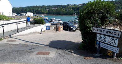 The image shows the entrance to the slipway at Menai Bridge