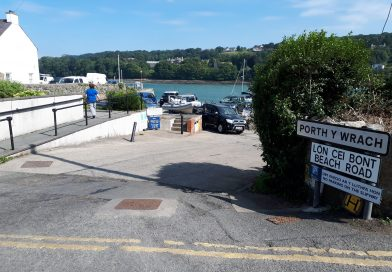 The image shows the entrance to the slipway at Menai Bridge